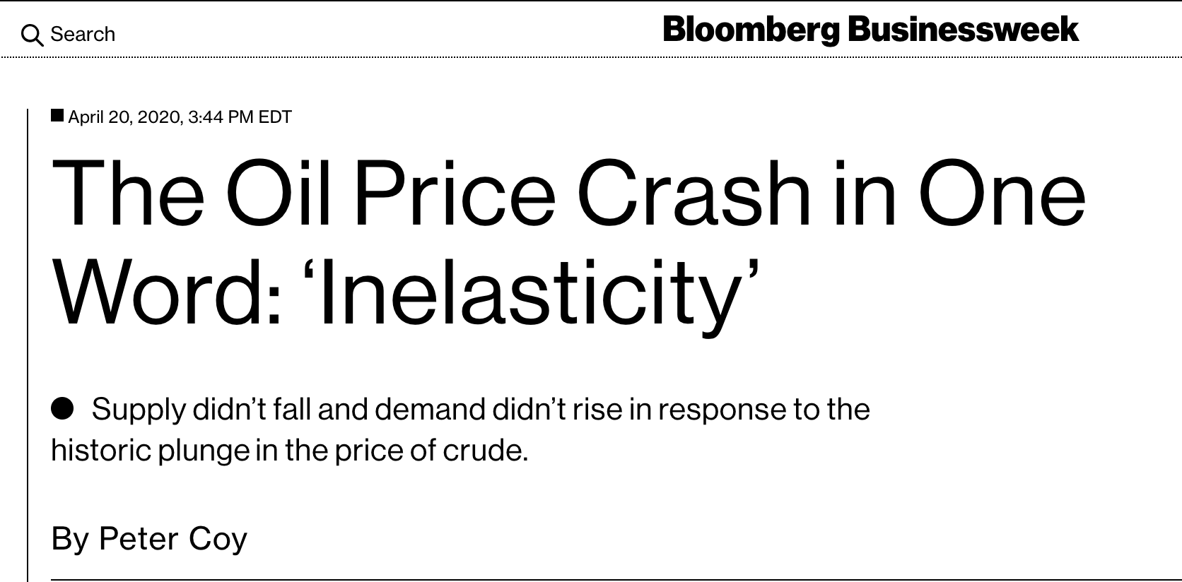 The oil price crash in one word: Inelasticity